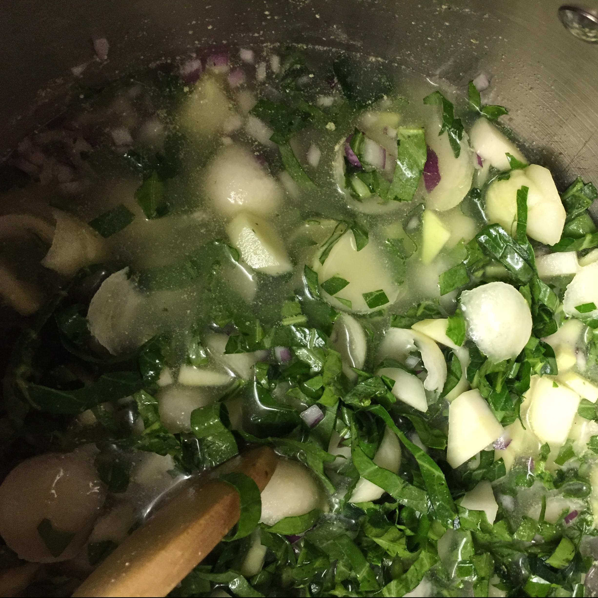 cooking down kohlrabi bits